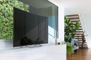 Sony KD65S8005CBAEP Wohnzimmer Schrankwand mit PC