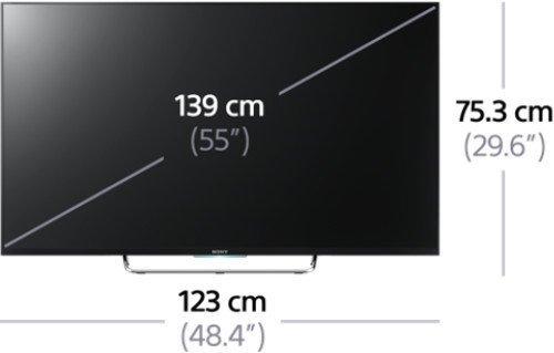 Sony KDL55W805C Maße in Zahlen